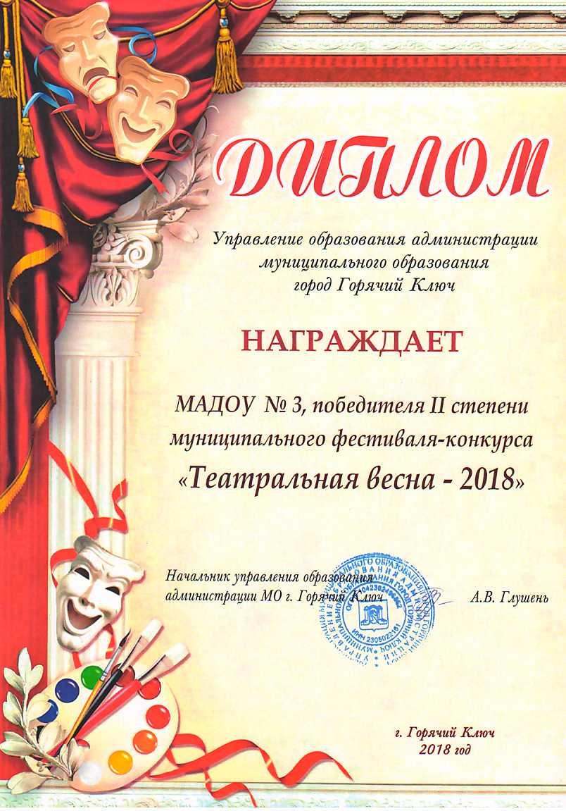 Диплом Управление образования администрации муниципального образования город Горячий Ключ
