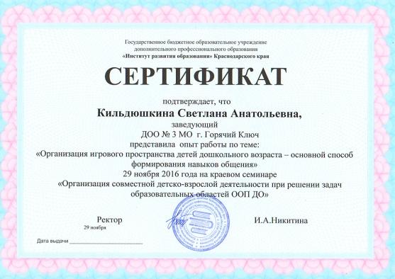 Сертификат от 29.11.2016 года краевой семинар